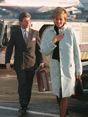 The Princess of Wales and her private secretary, Patrick Jephson, at Heathrow Airport. Jephson was Princess Diana's private secretary until he resigned in 1996. He is coming to Knoxville on May 5 to speak at a dinner that's a fundraiser for the McClung Museum of Natural History and Culture.
