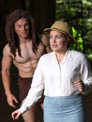 Tarzan (Jimmi Cook) beholds Jane (Sarah Fairchild)