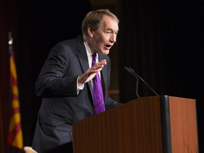 Charlie Rose addresses the crowd during the 32nd annual