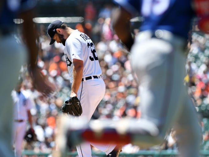 Tigers pitcher Michael Fulmer walks off the mound while