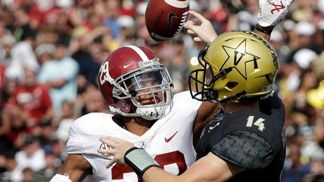The 2020 SEC football season will have more cross-divisional games, like this one between Alabama and Vanderbilt in 2017. How it determines those games remains up in the air.