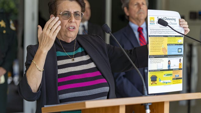 WEST PALM BEACH -- Palm Beach County Department of Health Director Dr. Alina Alonso urges the public to use social distancing to help protect themselves from the COVID-19 virus during a press conference on March 20.