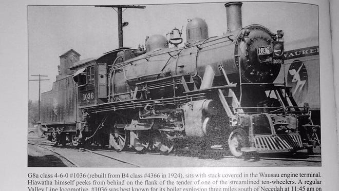 "This photograph from ""Route of the North Woods Hiawatha"" by Thomas E. Berg and Bob Storozuk shows Engine No. 1036, which would explode in Feb. 1940, killing three."