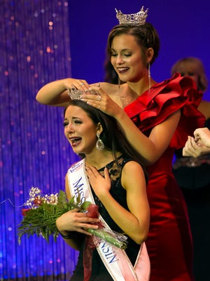 Miss Wisconsin 2015 Rosalie Smith crowned Courtney Pelot as the new Miss Wisconsin on Saturday at the Alberta Kimball Auditorium in Oshkosh. Pelot had served as Miss Green Bay Area since January.