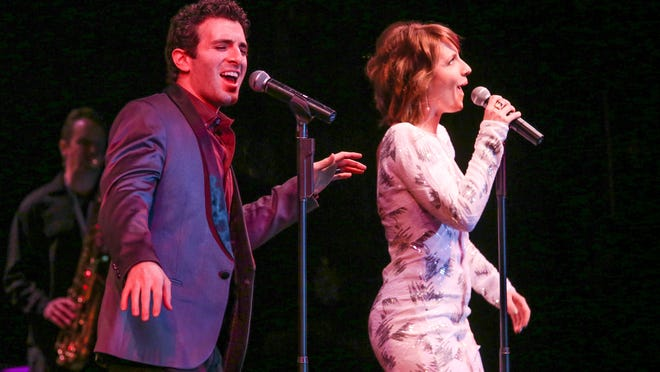 "Entertainers Jarrod Spector, left, and Tony-winner Jessie Mueller from the hit Broadway show ""Beautiful: The Carole King Musical."""