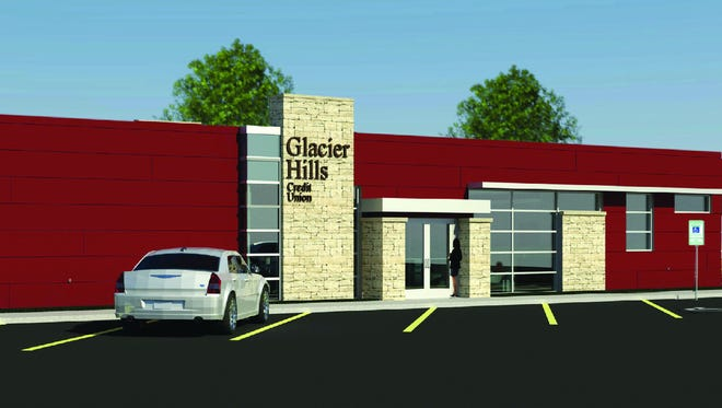 A rendering of the new Glacier Hills Credit Union location at 608 W. Johnson St., Fond du Lac.
