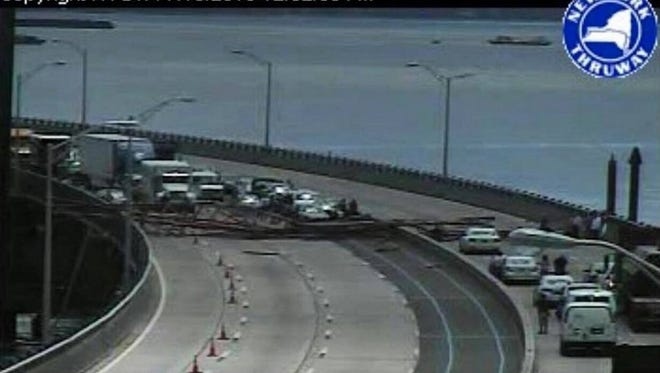 A crane collapsed onto the Tappan Zee Bridge in New York on Tuesday, July 19, 2016, and shut down the span in both directions.