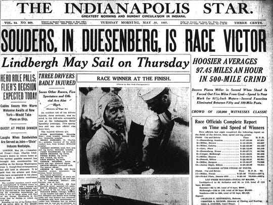 The front page of The Indianapolis Star reporting on the 1927 Indianapolis 500 won by George Souders.