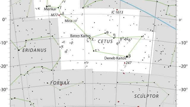 """This IAU/ Sky & Telescope star map draws Cetus the Whale as H.A. Rey did, with the tail on the left (east). Deneb Kaitos, the brightest Cetus star, is also known as Diphda. The star to the left marked with the Greek letter that looks like a """"T"""" is Tau Ceti. The bright planet Mars is presently (October 2020) above Cetus in the constellation Pisces. [Photo by IAU/ Sky & Telescope magazine (Own work) [CC BY-SA 3 (https://creativecommons.org/licenses/by-sa/3)], via Wikimedia Commons]"""