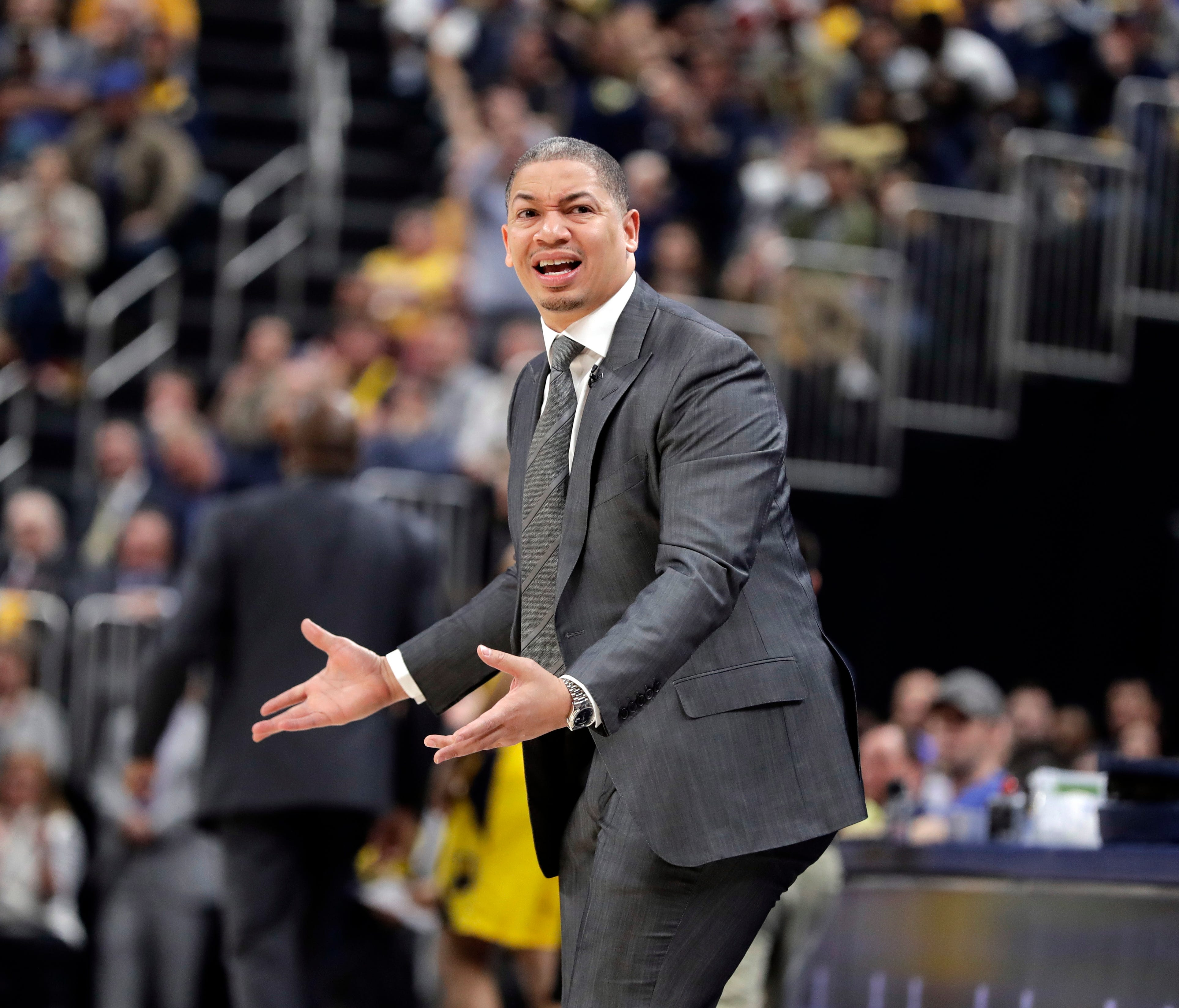 Cleveland Cavaliers head coach Tyronn Lue is seen on the sidelines during the first half of Game 4 against the Pacers.