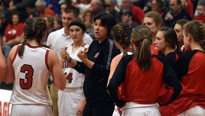 Westmoreland head coach Cherie Abner talks to her team during a timeout during Friday's Region 5-AA Tournament game against Lipscomb Academy.