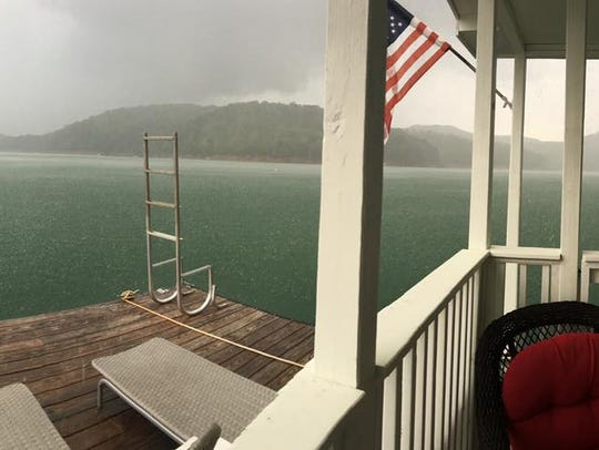 A storm approaches on Fontana Lake, as seen from the