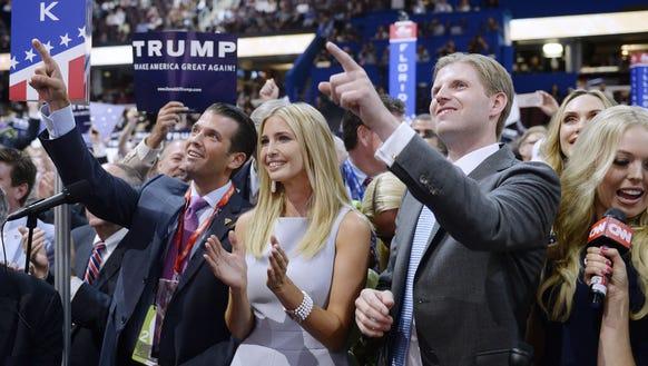 From left, Donald Trump Jr., Ivanka Trump, Eric Trump