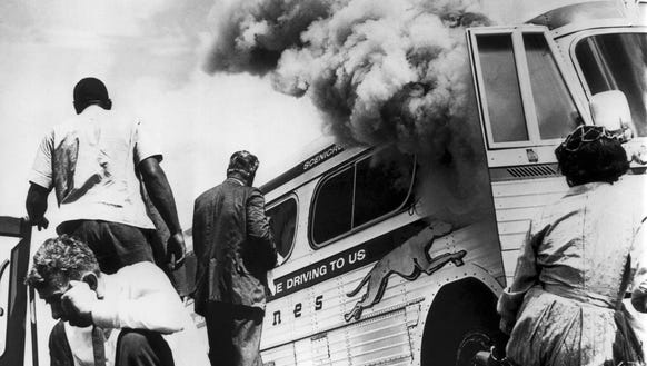 Freedom Riders on a Greyhound bus sponsored by the