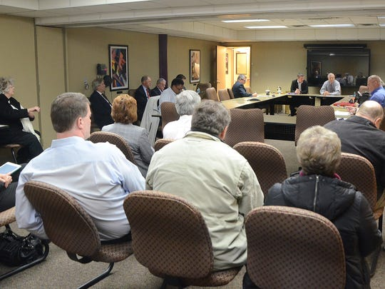 The scene at Monday's meeting of the Calhoun County Community Mental Health Authority, Summit Pointe's governing board, before it went into executive session.