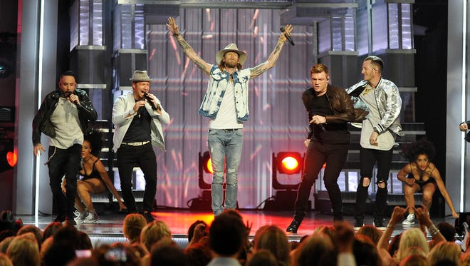 Florida Georgia Line and the Backstreet Boys perform together during the 52nd Academy of Country Music Awards at T-Mobile Arena on Sunday, April 2, 2017, in Las Vegas, Nev. Larry McCormack / Tennessean.com