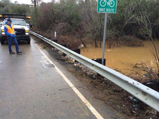 Caltrans crews closed Keswick Dam Road off Lake Boulevard