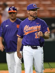 Clemson head coach Monte Lee (18) during the Tiger's NCAA Clemson Regional game against Vanderbilt at Doug Kingsmore Stadium in Clemson Saturday, June 2, 2018.