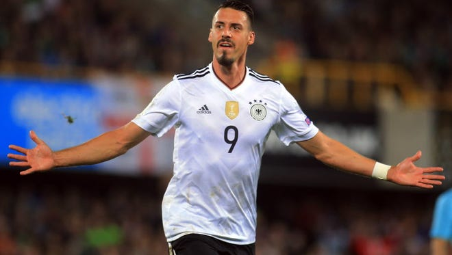 Germany's Sandro Wagner celebrates after scoring against Northern Ireland.