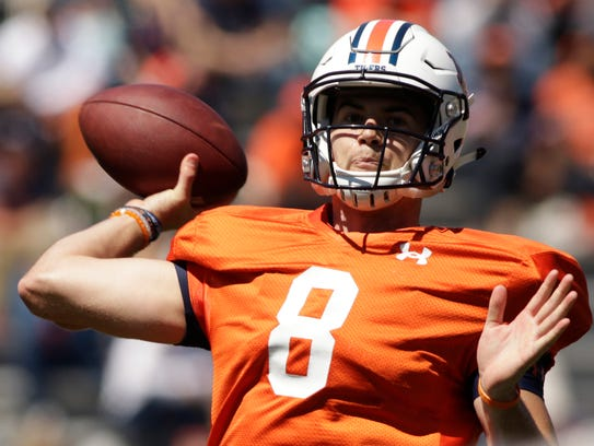 Auburn quarterback Jarrett Stidham during the spring