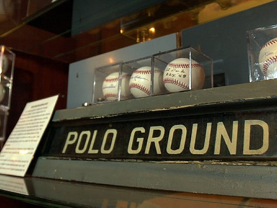 A subway sign to the Polo Grounds baseball park at
