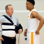 Tennessee head coach Rick Barnes meets with Grant Williams during at Media Day at Pratt Pavilion on Tuesday, October 25, 2016.