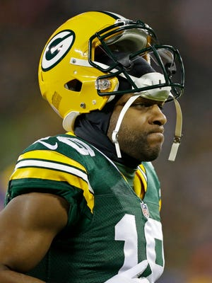 Green Bay Packers wide receiver Randall Cobb (18) wears his game face taking the field against the Minnesota Vikings at Lambeau Field.