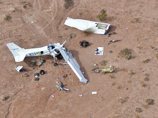 This aerial photograph shows the crash site where the plane carrying four people crashed resulting in their deaths, Saturday afternoon near Hatch, New Mexico.