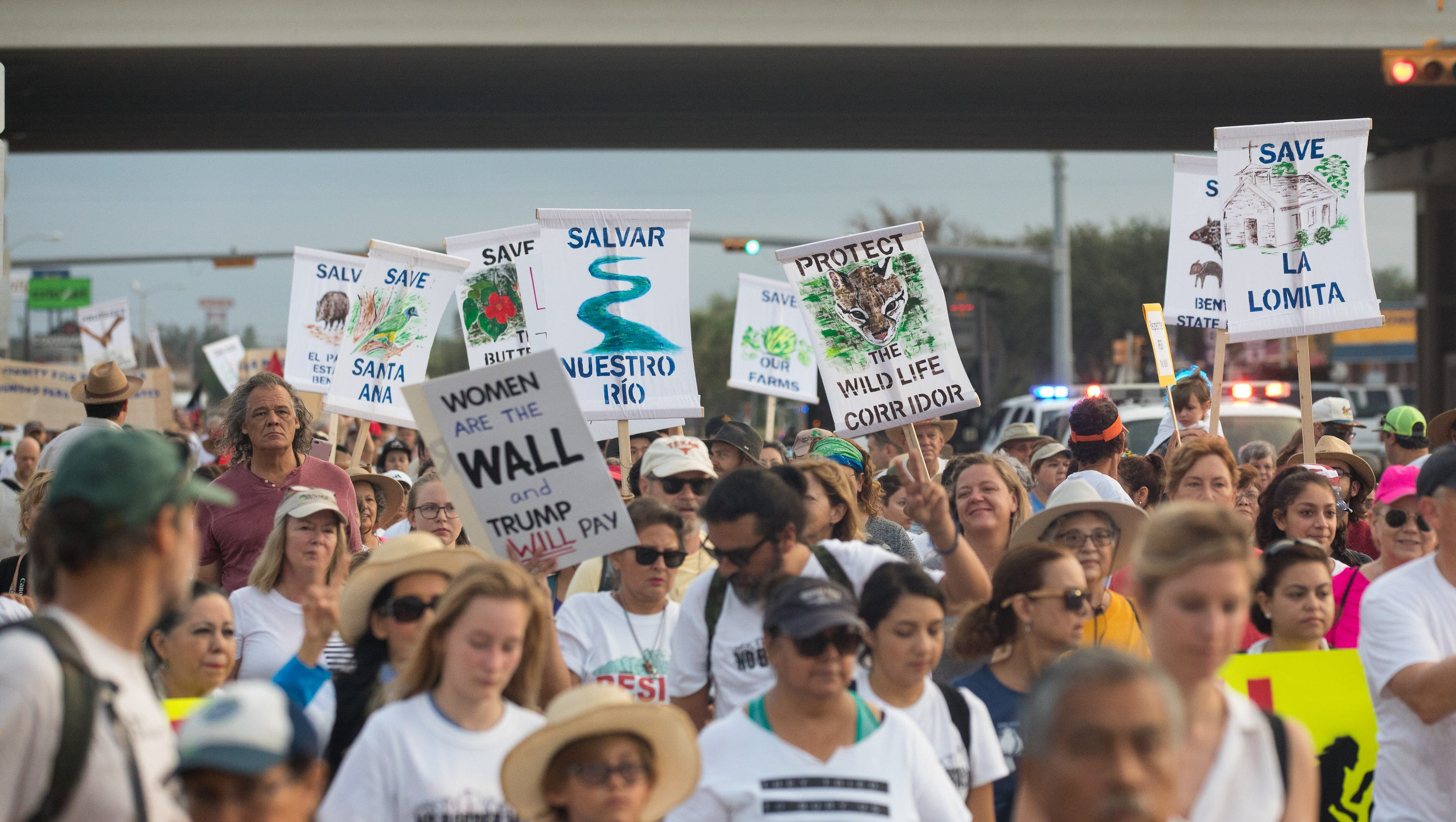 Marchers protest plans for border wall in South Texas