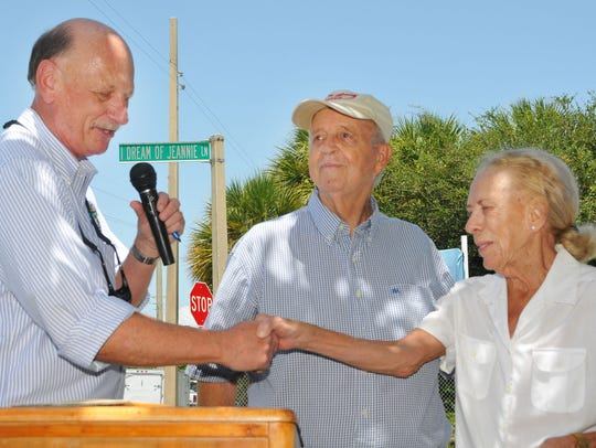 "An ""I Dream of Jeannie"" marker was dedicated in 2012 at the entrance to Lori Wilson Park in Cocoa Beach. Then-Brevard County Commission Chairman Chuck Nelson, former Cocoa Beach Mayor Joe Morgan and former Florida Sen. Lori Wilson were at the podium. Wilson died Jan. 30 at the age of 81."
