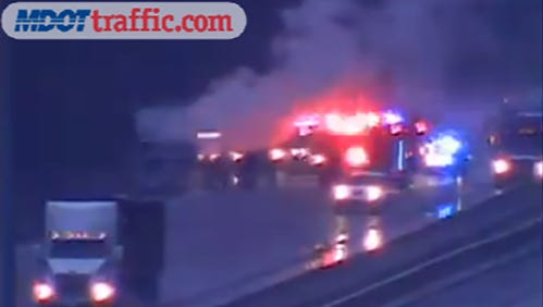 A vehicle caught fire on Interstate 20 at the Pearson Road exit in Pearl Thursday morning.