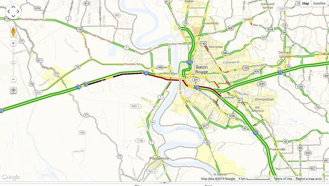 Traffic conditions on I-10 as of 1:20 p.m. on Friday.