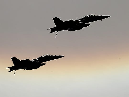 A pair of EA-18 Growler jets from Naval Station Whidbey