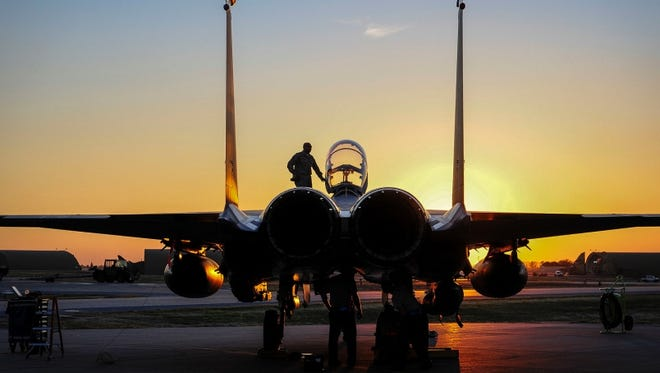 An F-15E sits on the flightline at Incirlik Air Base, Turkey, where six of the aircraft were deployed in November and December in support of Operation Inherent Resolve.