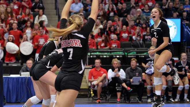 Rocori junior Morgan Holhaus (2) celebrates a point for the Spartans during the second set of the Class 2A state volleyball tournament quarterfinal match Thursday, Nov. 12 at the Xcel Energy Center in St. Paul. The match was tied going into the third set.