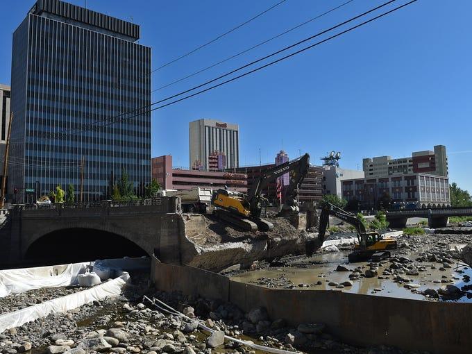 Half of the Virginia Street Bridge has been demolished