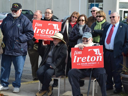 Jim Ireton's supporters listen to his announcement