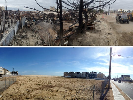 The burned out Camp Osborn section of Brick Township is shown shortly after Superstorm Sandy in November 2012 (top) and on Wednesday, October 21, 2015 (bottom) in these iPhone panoramic images.