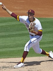 ASU's Sam Romero (26) pitches against USC in the second