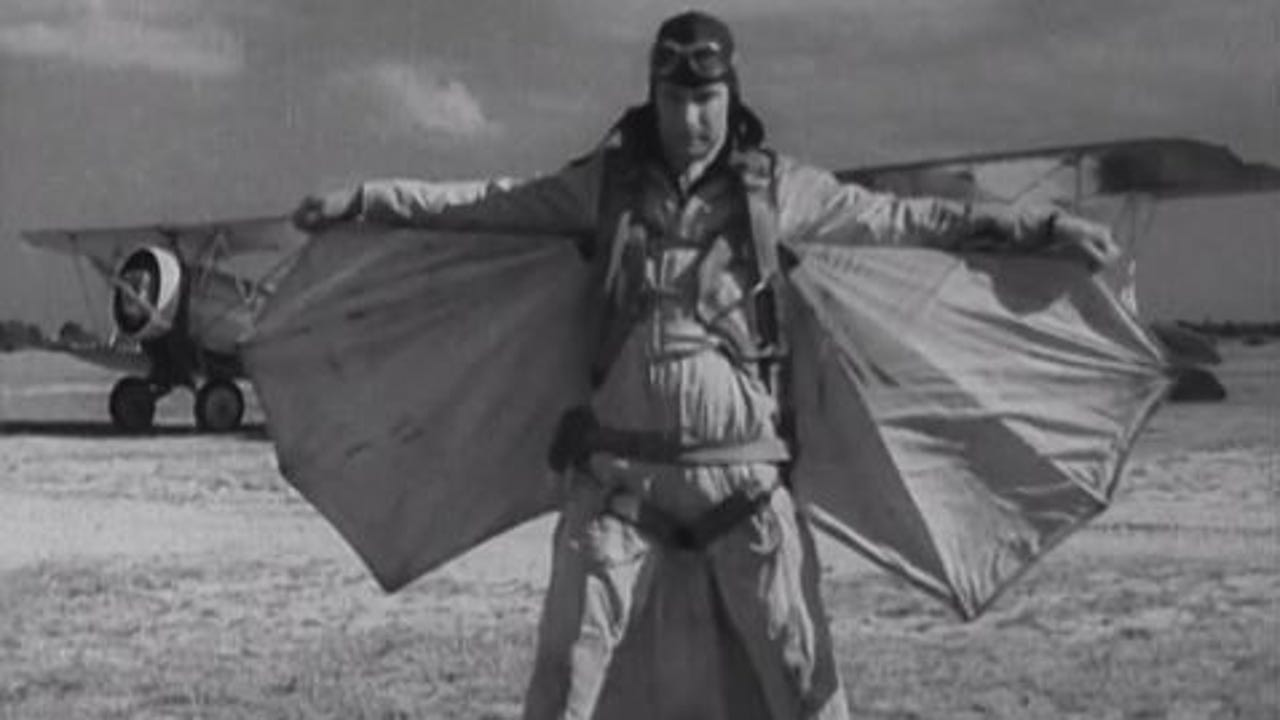 Clem Sohn in his final performance. He plunged to death when his parachute failed to open.