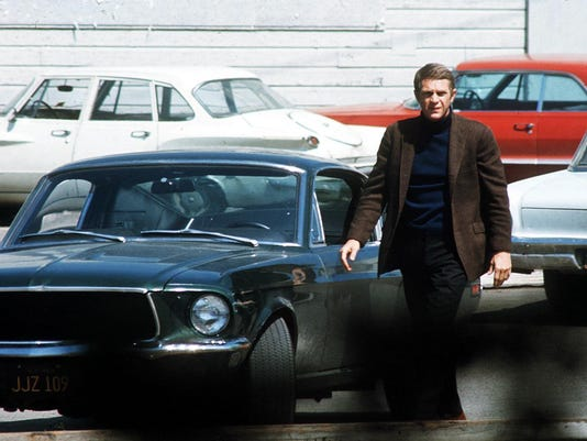 "Steve McQueen and the original ""Bullitt'' Mustang GT, circa 1968."