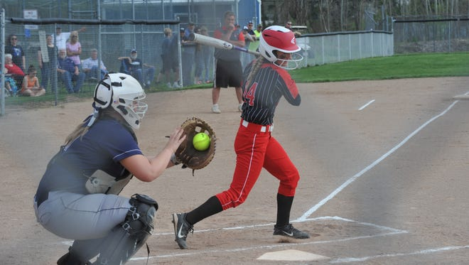 Lauren Kohler's triple put her in position to score the lone run of the game for the Lady Redmen.