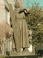 The statue of Fray Garcia de San Francisco, founder of the Pass of the North 1659, was dedicated on Sept. 26, 1996, and stands at Pioneer Plaza in Downtown El Paso.