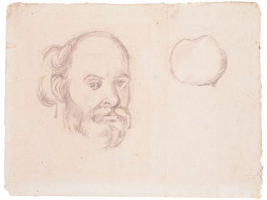 """""""Self Portrait and Apple"""" (pencil on paper) by Paul"""