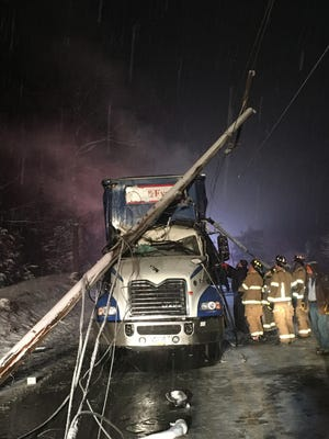 A truck hit low-hanging power lines Tuesday night on N. Seventh Street in North Lebanon Township.
