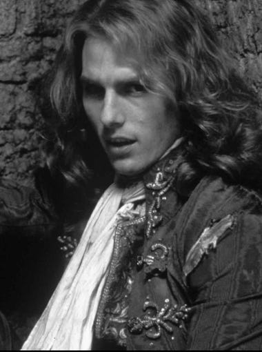 "Tom Cruise plays Lestat in ""Interview with the Vampire"" (1994)."