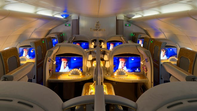 A first class private suite aboard Emirates.
