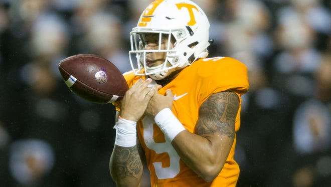 Tennessee running back Tim Jordan (9) fumbles the return ball during a game between Tennessee and LSU at Neyland Stadium in Knoxville, Tennessee, on Saturday, Nov. 18, 2017.