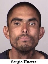 Sergio Huerta, 30, of Oxnard, was arrested Friday morning after a report of attempted robbery.