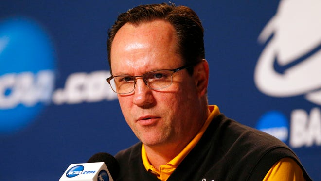Wichita State Shockers head coach Gregg Marshall speaks during a press conference for the semifinals of the midwest regional of the 2015 NCAA tournament at Quicken Loans Arena.